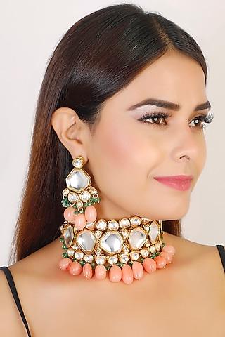 Gold Finish Ethnic Necklace Set by Chhavi'S Jewels