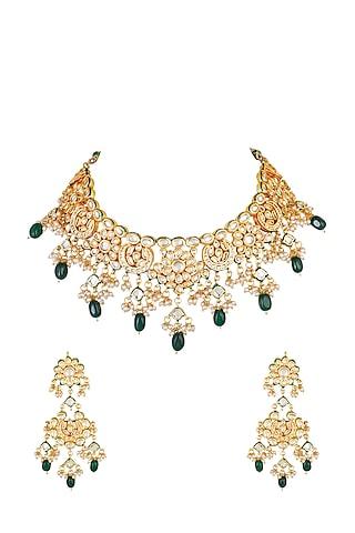Gold Finish Ethnic Kundan Choker Necklace Set by Chhavi'S Jewels