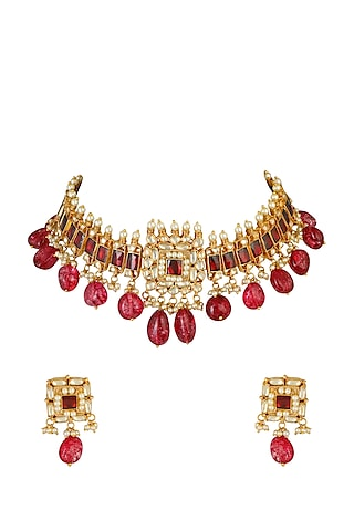 Gold Finish Kundan Ethnic Necklace Set by Chhavi'S Jewels