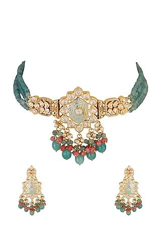 Gold Finish Choker Kundan Necklace Set by Chhavi'S Jewels
