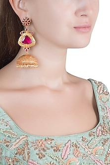 Gold Polish Ruby Stones Jhumka Earrings by Chhavi's Jewels