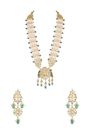Gold Finish Pearl, Kundan & Emerald Stones Rani Haar Necklace Set by Chhavi's Jewels