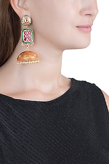 Gold Finish Ruby & Emerald Jhumka Earrings by Chhavi's Jewels