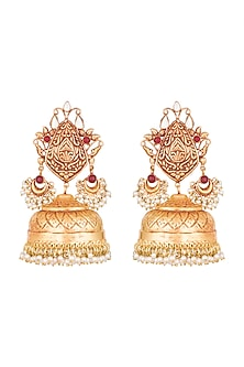 Gold Finish Grand Jhumka Earrings by Chhavi's Jewels
