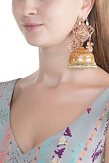 Gold Finish Grand Jhumka Earrings by Chhavi's Jewels