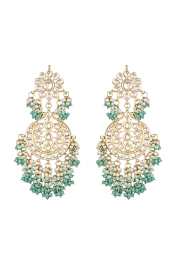 Gold Finish Lime Green Chandbali Earrings by Chhavi's Jewels