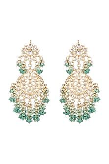 Gold Finish Lime Green Chandbali Earrings by Chhavi's Jewels