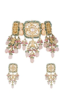Gold Finish Pink & Green Stones Choker Necklace Set by Chhavi's Jewels-Shop By Style