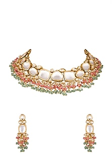 Gold Finish Choker Necklace Set by Chhavi's Jewels