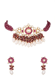 Gold Finish Marron Stone Choker Necklace Set by Chhavi's Jewels