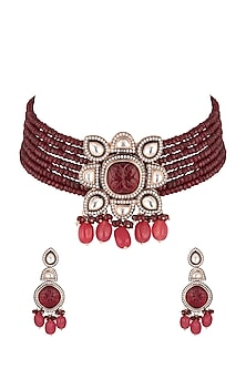 Gold Finish Red Stone Necklace Set by Chhavi's Jewels