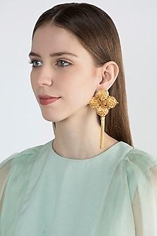 Gold Finish Long Earrings by Chhavi's Jewels