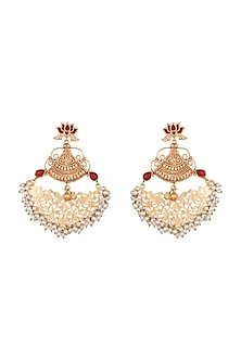 Gold Finish Red Stone Long Earrings by Chhavi's Jewels