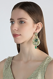 Gold Finish Green Stone Long Earrings by Chhavi's Jewels