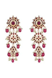 Gold Finish Maroon Stone Earrings by Chhavi's Jewels