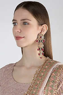 Gold Finish Maroon Stone Earrings by Chhavi's Jewels