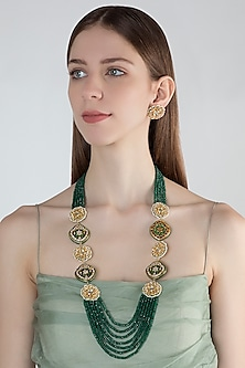 Gold Finish Green Stone Long Necklace Set by Chhavi's Jewels