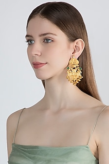 Gold Finish Green Stone Earrings by Chhavi's Jewels
