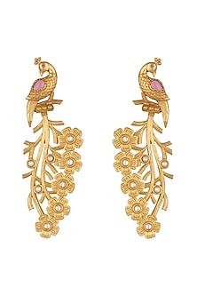 Gold Finish Bird Earrings by Chhavi's Jewels