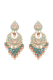 Gold Finish Blue Stone Long Earrings by Chhavi's Jewels