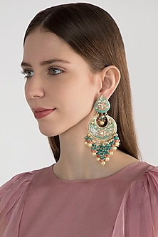 Gold Finish Blue Stone Long Earrings by Chhavi's Jewels