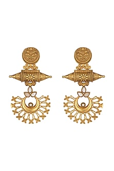 Gold Finish Long Earrings by Chhavi's Jewels