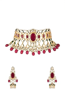 Gold Finish Red Stone Choker Necklace Set by Chhavi's Jewels