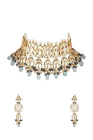 Gold Finish Blue Stone Choker Necklace Set by Chhavi's Jewels