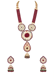 Gold Finish Red Stone Long Necklace Set by Chhavi's Jewels