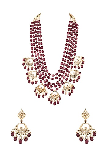 Gold Finish Maroon Stone Long Necklace Set by Chhavi's Jewels