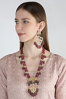 Gold Finish Maroon Stone Necklace Set by Chhavi's Jewels