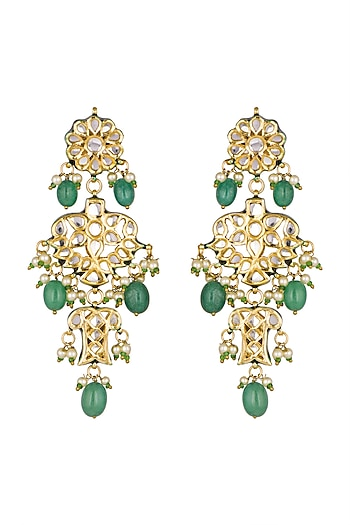 Gold Finish Green Stone Dangler Earrings by Chhavi's Jewels