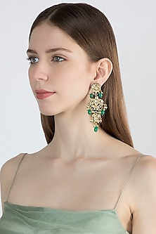 Gold Finish Green Stone Dangler Earrings by Chhavi's Jewels