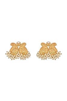 Gold Finish Earrings by Chhavi's Jewels