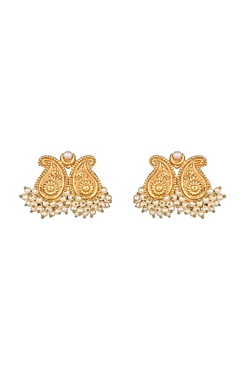 Gold Finish Earrings by Chhavi's Jewels
