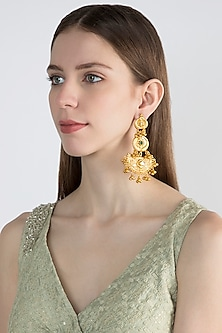 Gold Finish Dangler Earrings by Chhavi's Jewels