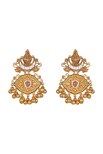 Gold Finish Long Dangler Earrings by Chhavi's Jewels