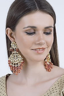 Gold Finish Rose Quartz Earrings by Chhavi's Jewels