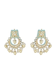 Gold Finish Dangler Earrings With Pearls by Chhavi's Jewels