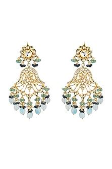Gold Plated Aquamarine Stone Earrings by Chhavi's Jewels
