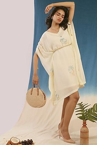 White Hand Printed Kaftan Dress With Embroidered Belt by Chokhi Chorri