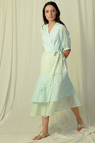 White & Green Ombre Embroidered Wrap Midi Dress by Charkhee
