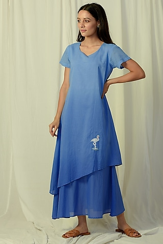 Blue Ombre Embroidered & Layered Maxi Dress by Charkhee