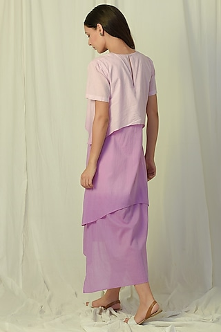 Lavender Ombre Embroidered & Layered Midi Dress by Charkhee