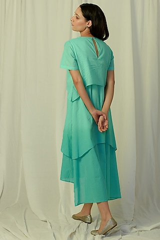 Green Ombre Embroidered & Layered Midi Dress by Charkhee
