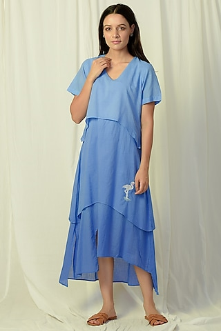 Blue Ombre Embroidered & Layered Midi Dress by Charkhee