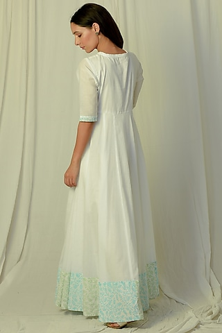 White & Green Flared & Embroidered Maxi Dress by Charkhee