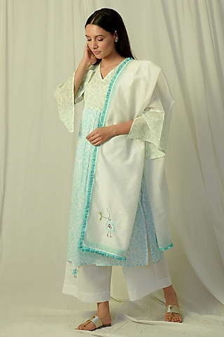 White & Green Printed & Embroidered Kurta Set by Charkhee