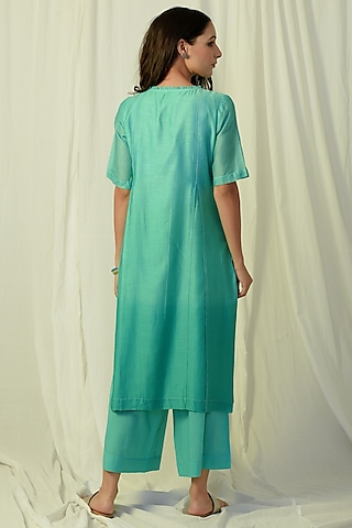 Green Ombre Embroidered Kurta Set by Charkhee
