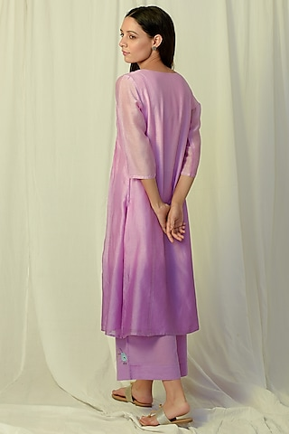 Lavender Ombre Embroidered Gathered Kurta Set by Charkhee